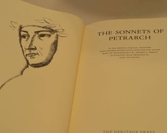 Vintage book Petrarch's Sonnets, Petrarca Italian Renaissance poetry & John Cowper Powys -  One Hundred Best Books