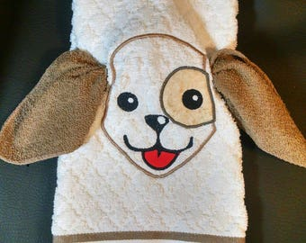 3 dimensional hound dog hand towel and wash cloth
