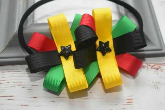 Ghana at 60 bow - Baby / Toddler / Girls / Kids Elastic  Hairband / Headband