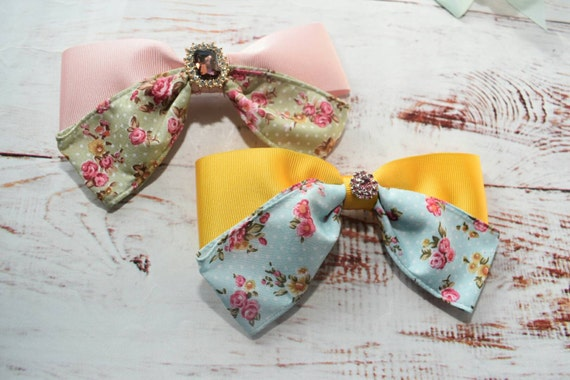 Pair of floral bow barrettes / hair clips / pigtail clips / pony tail clips / wedding bows / flowergirl bows / birthday bows