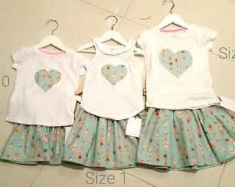 Childrens / Girls handmade skirt and heart top set, tshirt, mint feather, summer sets