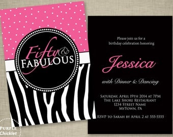 Pink 50th Birthday Invitation Fifty 50 and Fabulous Zebra Stripes Polka Dots Pink Adult Party Invite Double Sided 5x7 Printable Invite(86a)