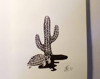 "FREE SHIPPING Worldwide, Original Handmade Linocut Print, 6"" x 8"", botanical, cactus, turtle, wall decor, illustration, gift idea, for her"