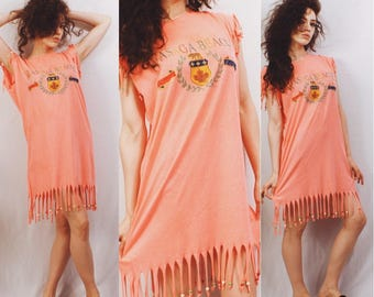 Vtg 80s / 90s Beaded Fringe Mini Dress / Resort / Hot Neon Pink