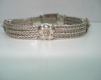 Flower Wheat Chain Sterling  Silver Anatoli Style Bracelet