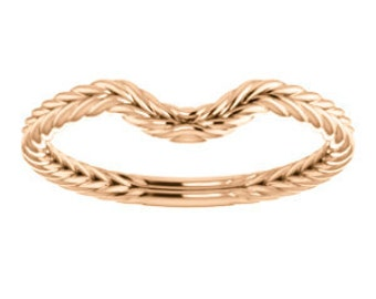 14K Gold Braided Wedding Band for 8x6mm Oval Engagement Ring