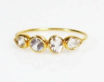 25% OFF White Topaz 14K Gold Ring, Multi Stone, Ready to Ship Size 5.75