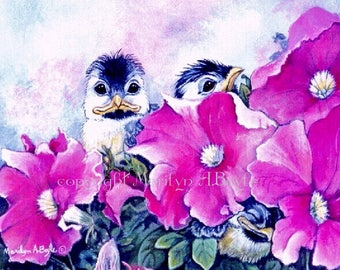 ACEO LIMITED EDITION Card, run of only 15, 3 baby chickadee, petunias, garden, nature, 2.5 x 3.5 inches, feathers, wings,