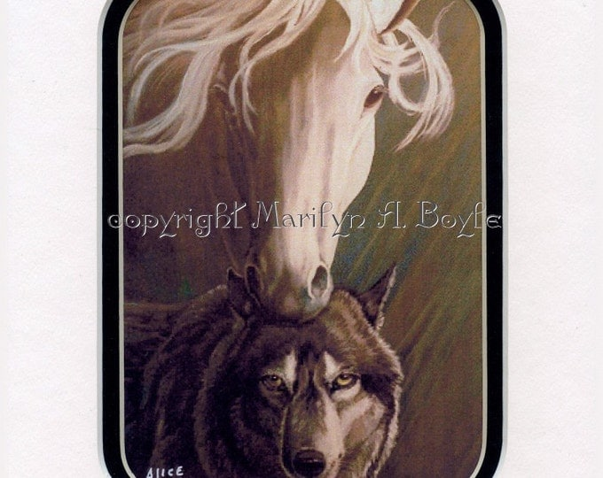 8 X 10 INCH MATTED PRINT; Companions, horse, wolf, nature, wildlife,