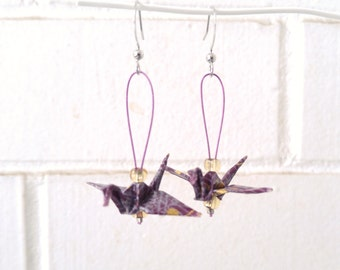 Mini origami cranes earrings |Purple earrings | Paper jewelry | Modulo