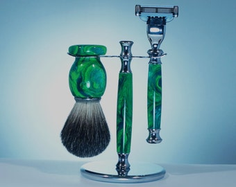 Shaving Kit with Stand, Old Fashion Shave Sets, Men's Gift, Christmas Gift, Acrylic Green, Shave Brush and Razor