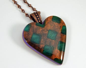 Polymer Clay Heart Pendant. Polymer Clay Pendant. Polymer Clay Necklace. Sculpey. Fimo.