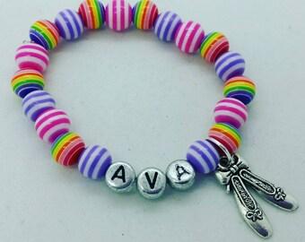 Rainbow name bracelet, girls name bracelet, dance bracelet, ballet bracelet, pink and purple bracelet, dance recital gift, party favor