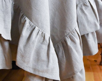 Linen tablecloth with ruffles, linen volant tablecloth