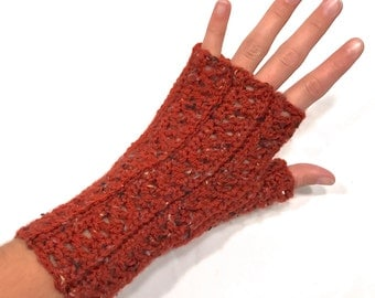 Auburn Tweed Crochet Fingerless Gloves