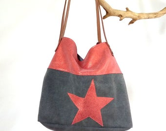 Bag, gray linen and Red leatherette Tote, Star, leather handle