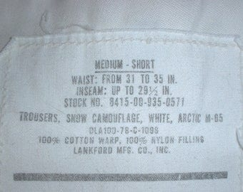US Army M-65 Snow overtrousers (camouflage shell) Medium-Short Lankford 1978