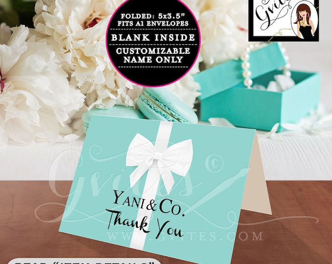 """Thank You Card Folded A1, Customizable Breakfast at theme bridal shower, blue white bow, birthday sweet 16. PRINTABLE. 5x3.5"""" 2 Per/Sheet"""