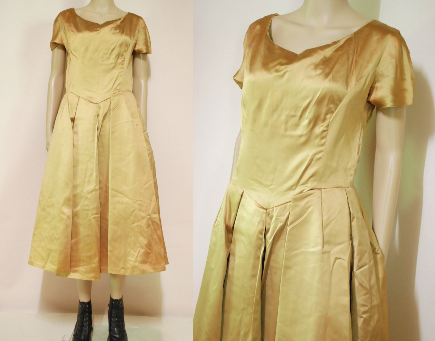 50s 60s Vintage Gold Ball Gown Dress Rosette Evening Pleated