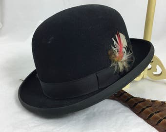 Vintage Stetson Bowler Derby hat ~black felt size 7~ grosgrain ribbon edge~ Sovereign stye Steampunk from MilkweedVintageHome