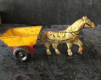 Vintage Marx toy horse pulling cart~tin toy litho~1940s from MilkweedVintageHome