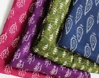 Unique scarves - block print scarf - pink scarves - purple scarves - jewel tone scarves for women - Mayil silk cotton