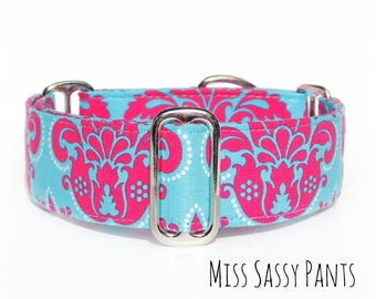 1.5 Inch Martingale Dog Collar, 2 Inch Wide Collar or 1 Inch Custom Size Dog Collar, Small to Extra Large Adjustable Sizes, Personalized
