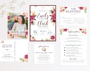Modern Water Color Floral Wedding Invitation