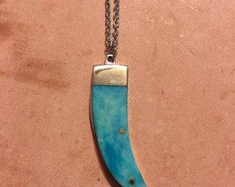 "Turquoise Bone ""Claw"" Mini Pocket Knife Necklace"