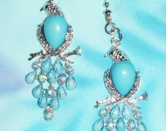 Two ~ Beautiful Birds Blue Rhinestone Beaded Tail Body ~ Ceiling Fan Pulls