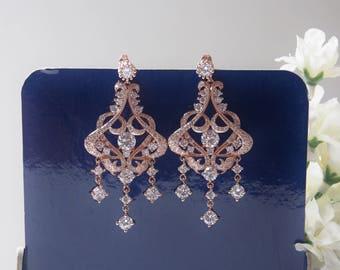 Victorian Chandelier Rose Gold CZ Wedding Earrings, Bridal Earrings, Statement Earrings, Drop Earrings,  Wedding, Bridal Jewelry - 17RG66E