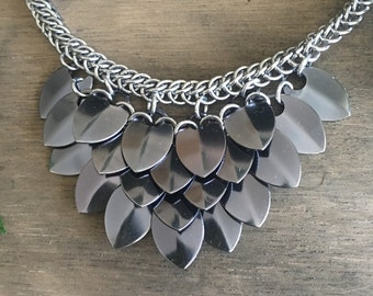 Black Ice Scale Maille / Chain Maille Necklace