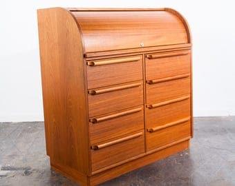 Mid Century Danish Modern Desk Teak Rolltop Secretary Danka Denmark Scandanavian Vintage Office Drawers File Cabinet FREE SHIPPING