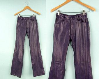 90s Faux Leather Pants, Vintage Purple Flares, Size Extra Small, Size 25 Waist,  Pleather, PU, Vinyl, Club Kid, Raver,