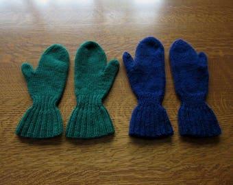 Vintage Knitted Wool Mittens, 2 Pairs, Unisex Men Women Adults, Navy Blue & Dark Green Mittens, 1960's Handmade Vintage Wool Mittens, Gloves