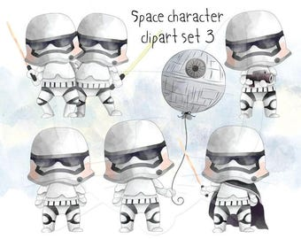 Space character clipart set 3  instant download PNG file - 300 dpi
