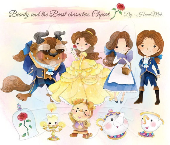 Cute Beauty And The Beast Character ClipartInstant DownloadPNG File