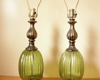 Vintage 60u0027s/70u0027s Green Glass Lamps  Set Of 2  WORKING!  Green