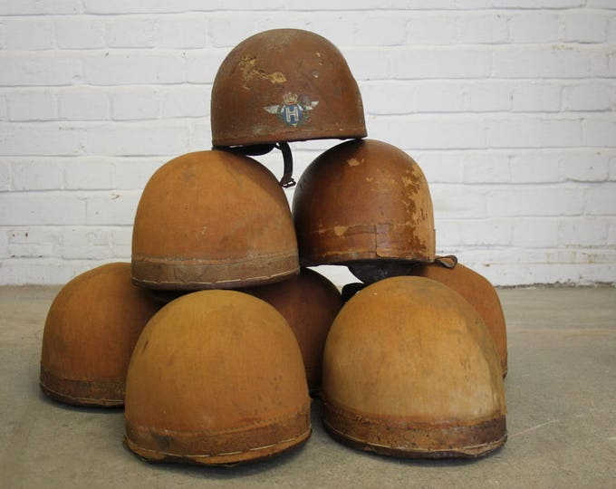 A Collection Of Cork Motorcycle Helmets Circa 1930's