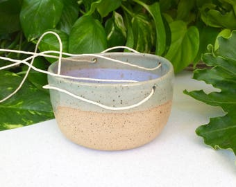 Mother's Day Gifts Hanging Planters Indoor Plants Light Blue Stoneware Pottery Handmade Planter Hemp Twine Air Plants Cacti Planter