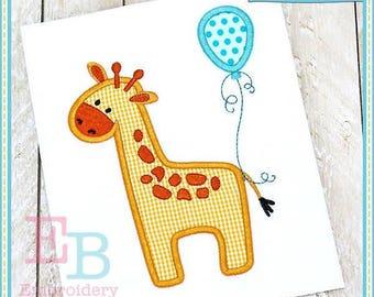 Personalize Giraffe with Balloon Applique Shirt or Onesie Girl or Boy