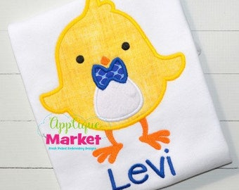 Personalized Boy Easter Chick with Bow Tie Applique Shirt or Onesie Girl or Boy
