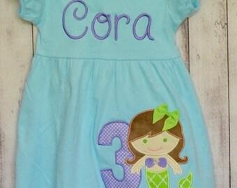 Personalized Mermaid Applique Dress