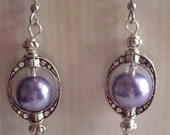 Antique silver look earrings, Purple and silver earrings, purple pearl, silver, dangles, hypo allergenic