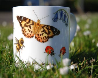 Insects of the British Isles - beautiful bone china mug with bee, butterfly and dragonfly watercolours