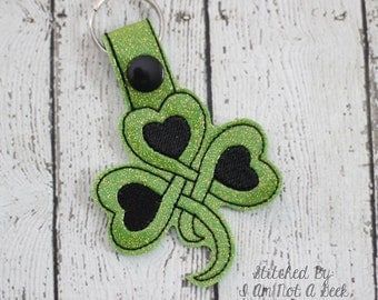 Celtic Knot - Heart - Clover - Shamrock - St Patty's - Lucky - Key Fob In The Hoop - DIGITAL Embroidery DESIGN