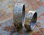 unique wedding bands gold silver, molten wedding ring set, matching rings his and hers, promise rings mixed metal, viking wedding rings