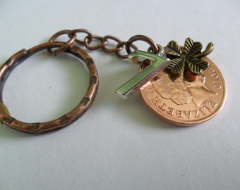 """7th Anniversary Gift Copper Wedding Anniversary gift 2010 British Coin Keyring with """"7"""" charm and lucky clover charm gift"""