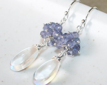 Mystic Clear Quartz with Blue Quartz Cluster Earrings, Sterling Silver, Wire Wrapped Jewelry, Rainbow Quartz, Mixed Gemstone Drop Earrings