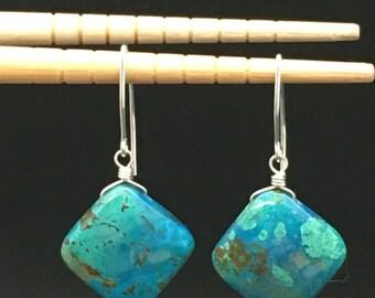 Chrysocolla Earrings, Turquoise Stone Earrings, Green Stone Earrings, Malachite Earrings, Sterling Silver Earrings, Earrings Under 150